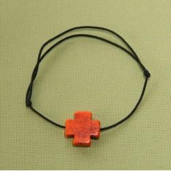 Bracelet élastique et croix de couleur en pierre reconstituée