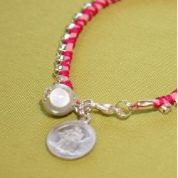 Bracelet enfant Strass et scapulaire rose