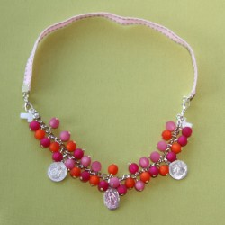 Collier-bracelet Stella Maris fuchsia, orange et rose