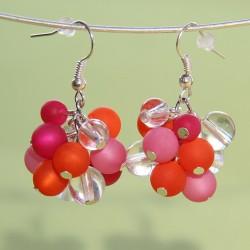 Boucles d'oreilles Stella Maris fuchsia, orange et rose
