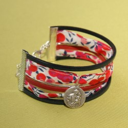 Bracelet St Joseph et liberty Wiltshire rouge et marine