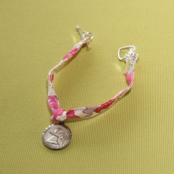 Bracelet enfant Ange gardien et liberty Betsy Bougainvillée