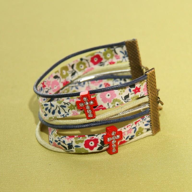 Bracelet manchette Cana fairford rouge