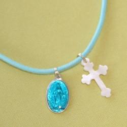Collier turquoise croix trefflée et médaille miraculeuse