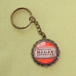 Porte-clé rond maman