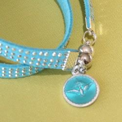 """Bracelet double tour """"Saint Esprit """" strass turquoise"""