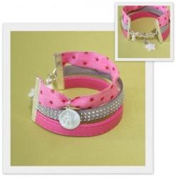 Bracelet manchette Scapulaire et strass rose